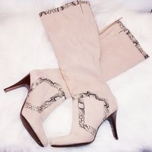 Shoes - #100 Cream Black Suede Snake Skin Calf Boots 7.5